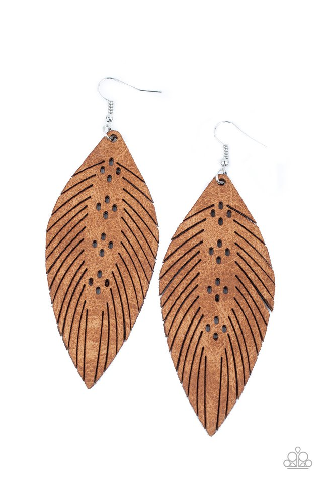 Wherever The Wind Takes Me - Brown - Paparazzi Earring Image