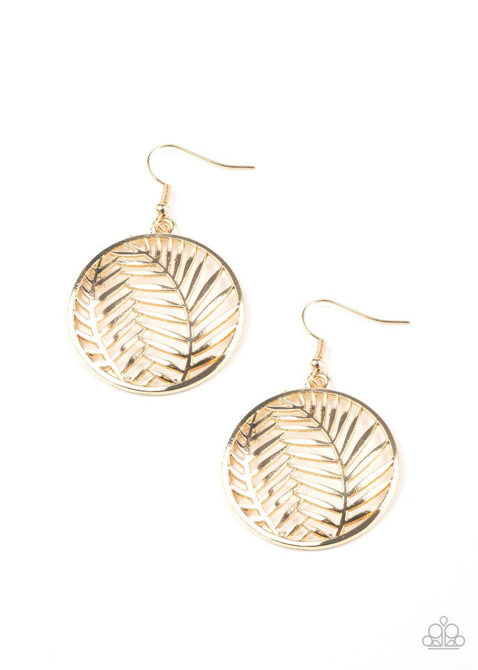 Palm Perfection - Gold - Paparazzi Earring Image