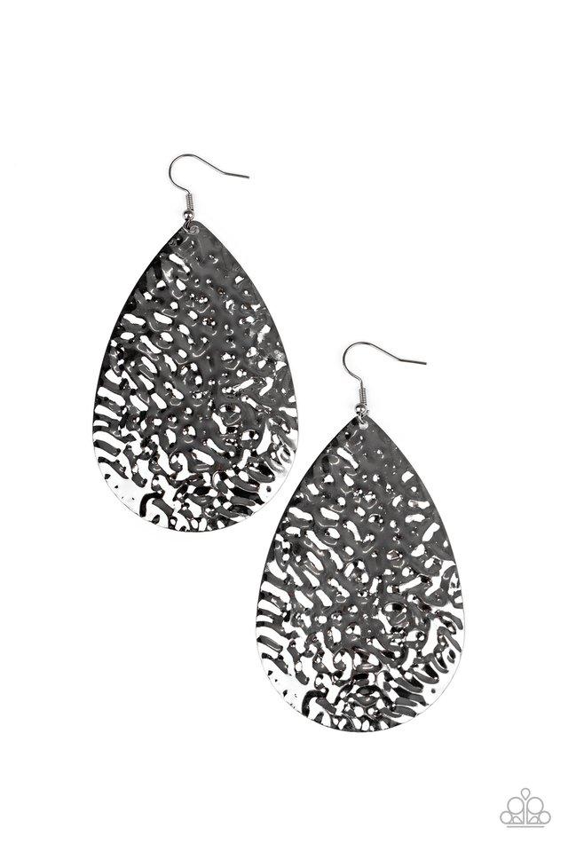 Metallic Mirrors - Black - Paparazzi Earring Image