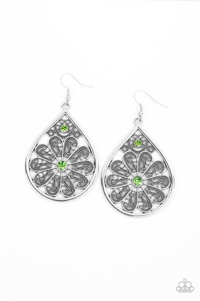 Whimsy Dreams - Green - Paparazzi Earring Image