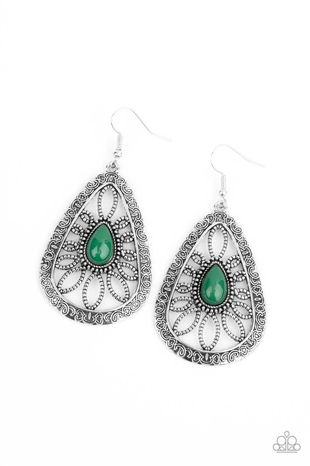 Floral Frill - Green - Paparazzi Earring Image