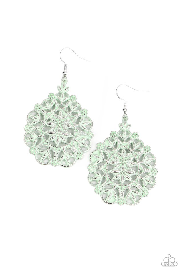 Floral Affair - Green - Paparazzi Earring Image