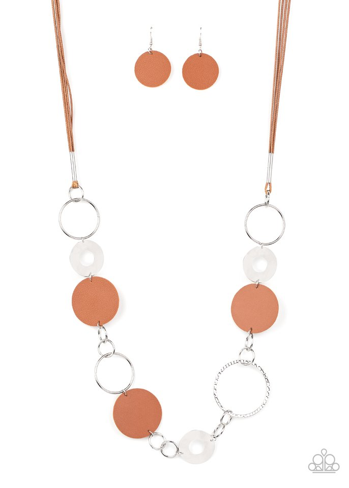 Sooner or LEATHER - Brown - Paparazzi Necklace Image