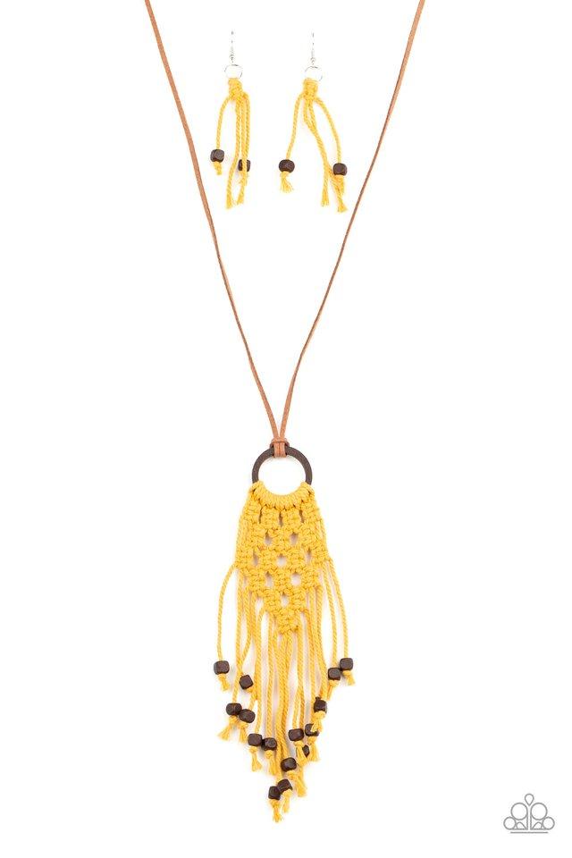 Its Beyond MACRAME! - Yellow - Paparazzi Necklace Image