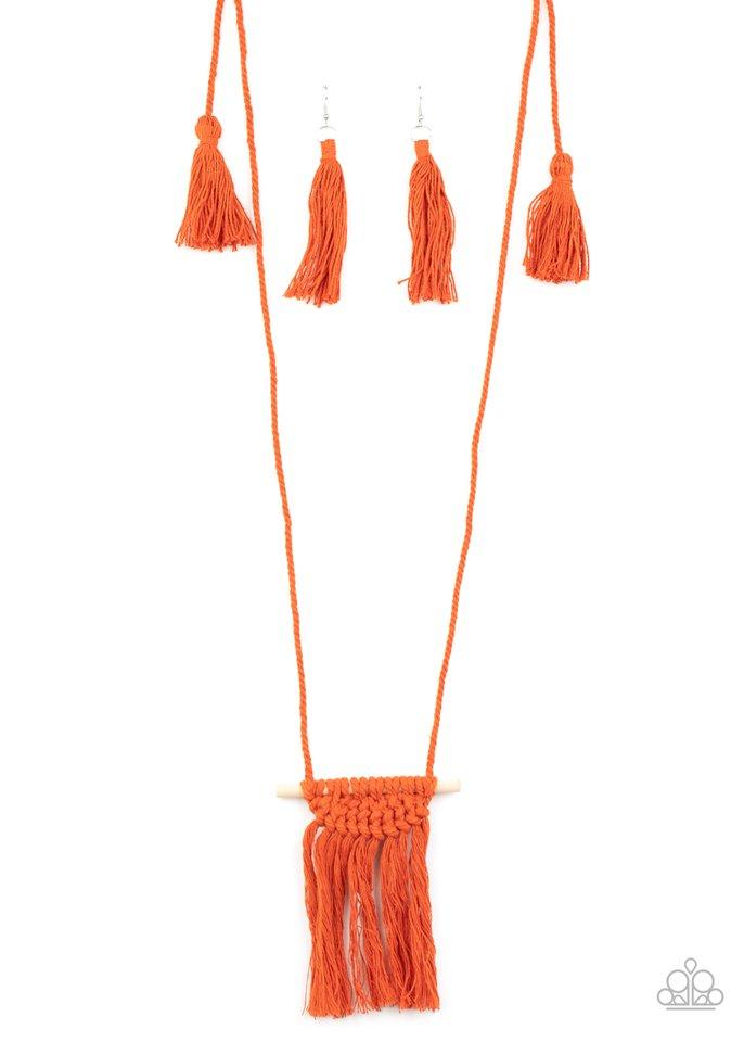 Between You and MACRAME - Orange - Paparazzi Necklace Image
