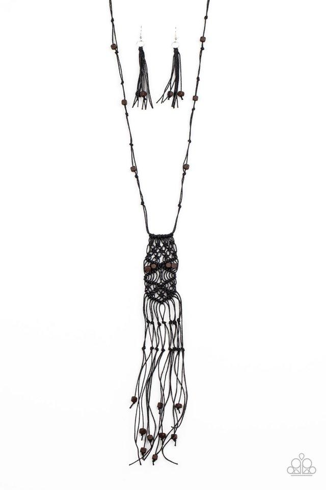 Macrame Majesty - Black - Paparazzi Necklace Image