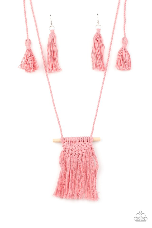Between You and MACRAME - Pink - Paparazzi Necklace Image
