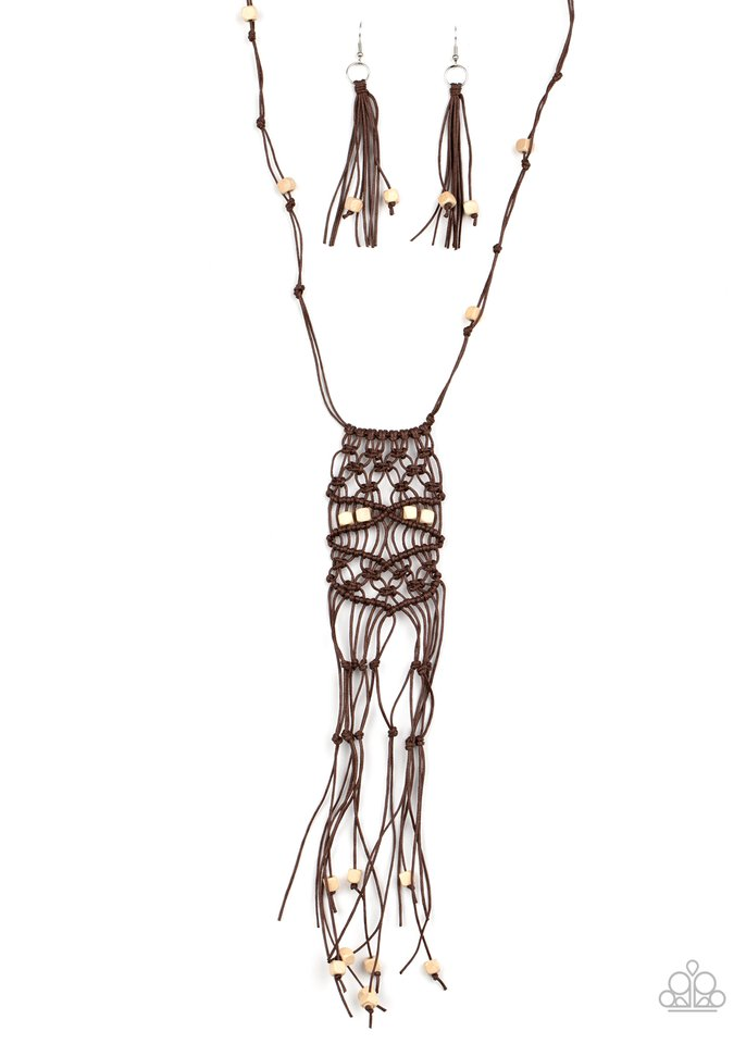 Macrame Majesty - Brown - Paparazzi Necklace Image