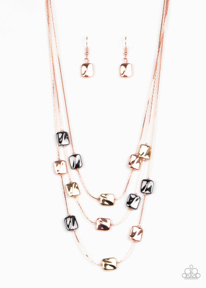 Downtown Reflections - Copper - Paparazzi Necklace Image