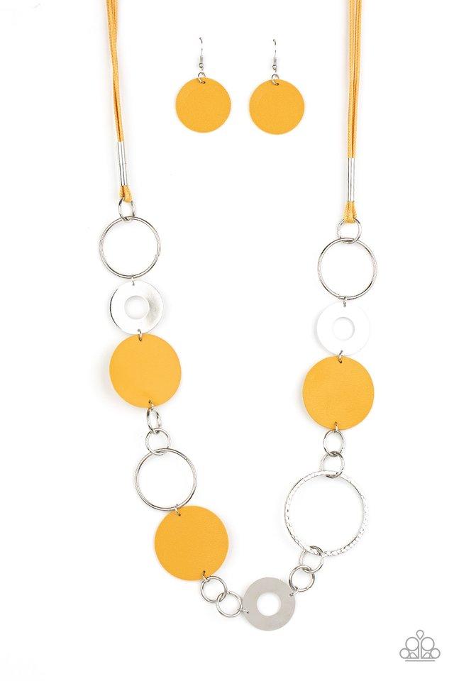 Sooner or LEATHER - Yellow - Paparazzi Necklace Image