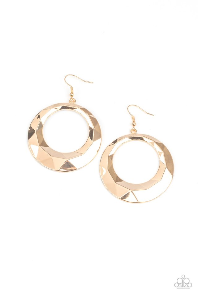 Fiercely Faceted - Gold - Paparazzi Earring Image