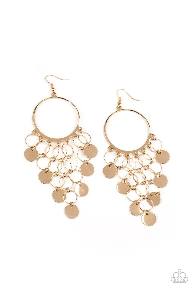 Take a CHIME Out - Gold - Paparazzi Earring Image