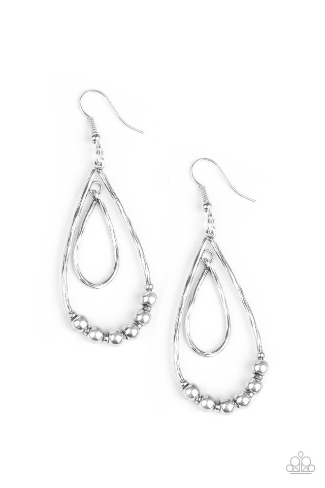 Artisanal Applique - Silver - Paparazzi Earring Image