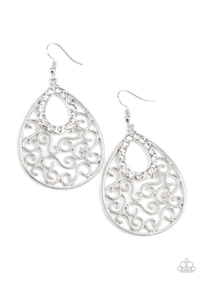 Seize The Stage - White - Paparazzi Earring Image