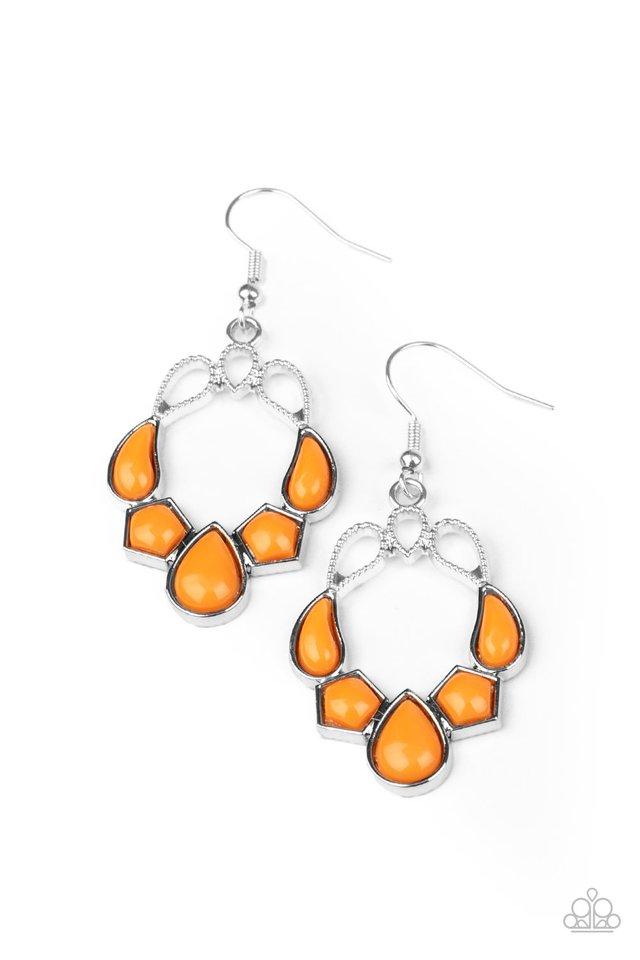 Its Rude to STEER - Orange - Paparazzi Earring Image