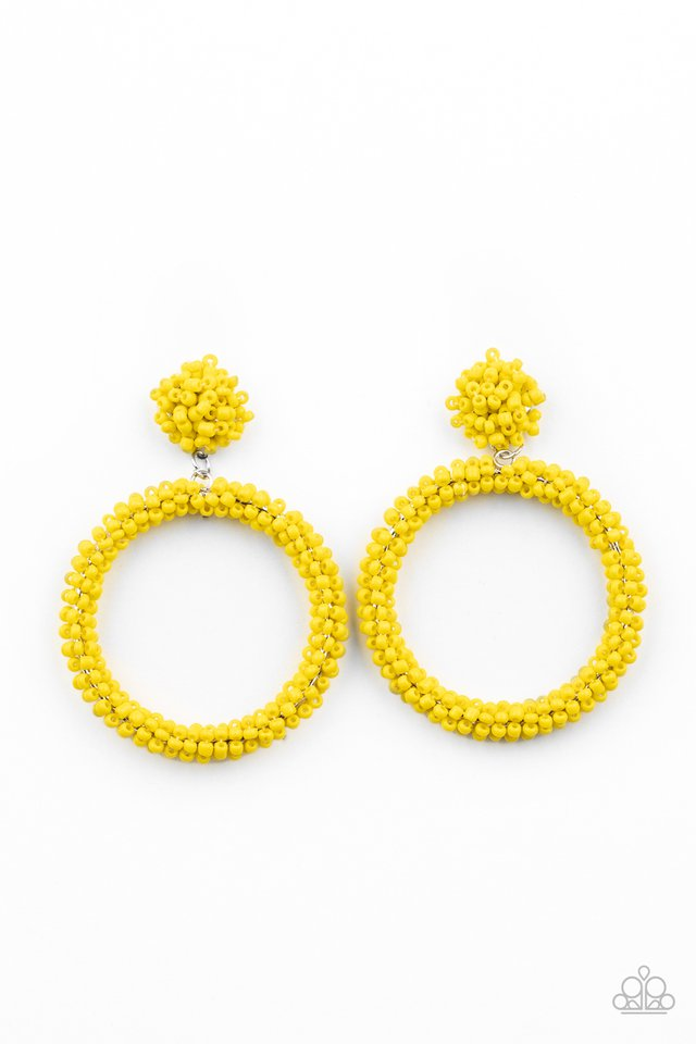 Be All You Can BEAD - Yellow - Paparazzi Earring Image
