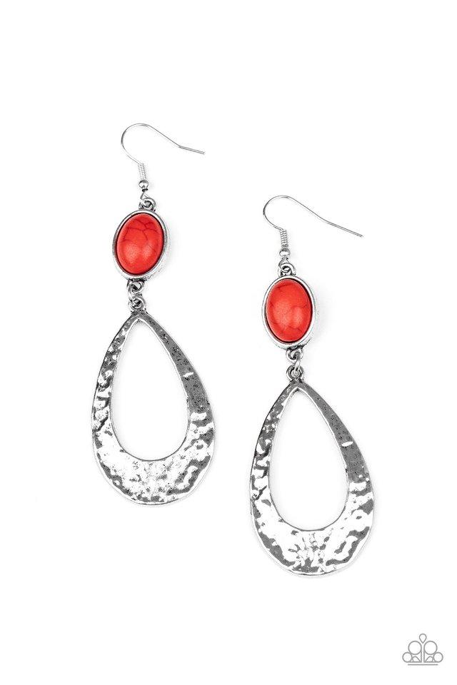 Badlands Baby - Red - Paparazzi Earring Image