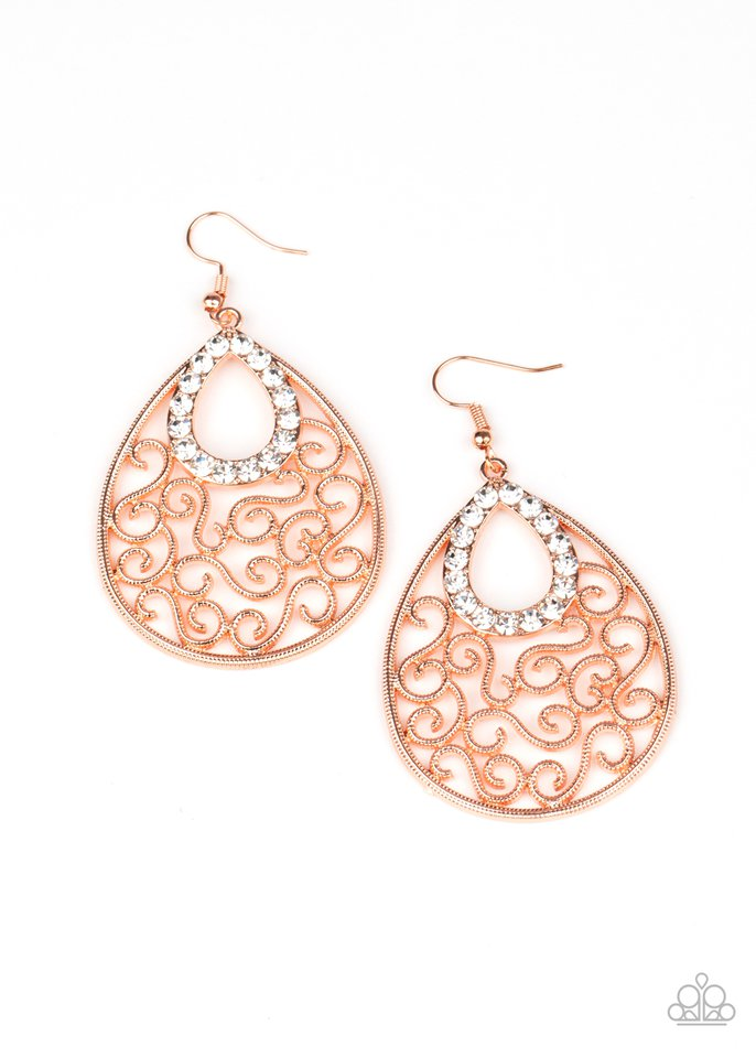 Seize The Stage - Copper - Paparazzi Earring Image