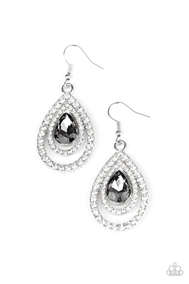 So The Story GLOWS - Silver - Paparazzi Earring Image