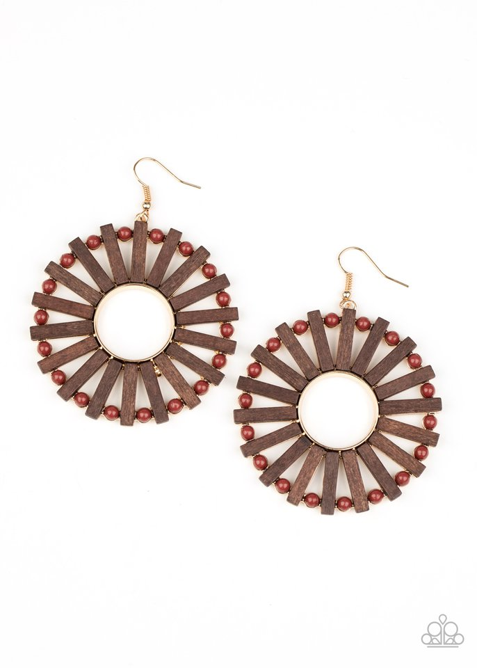 Solar Flare - Brown - Paparazzi Earring Image