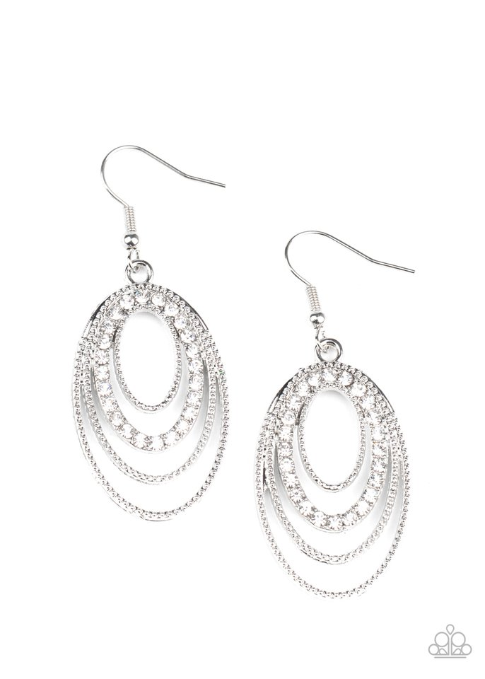 Date Night Diva - White - Paparazzi Earring Image