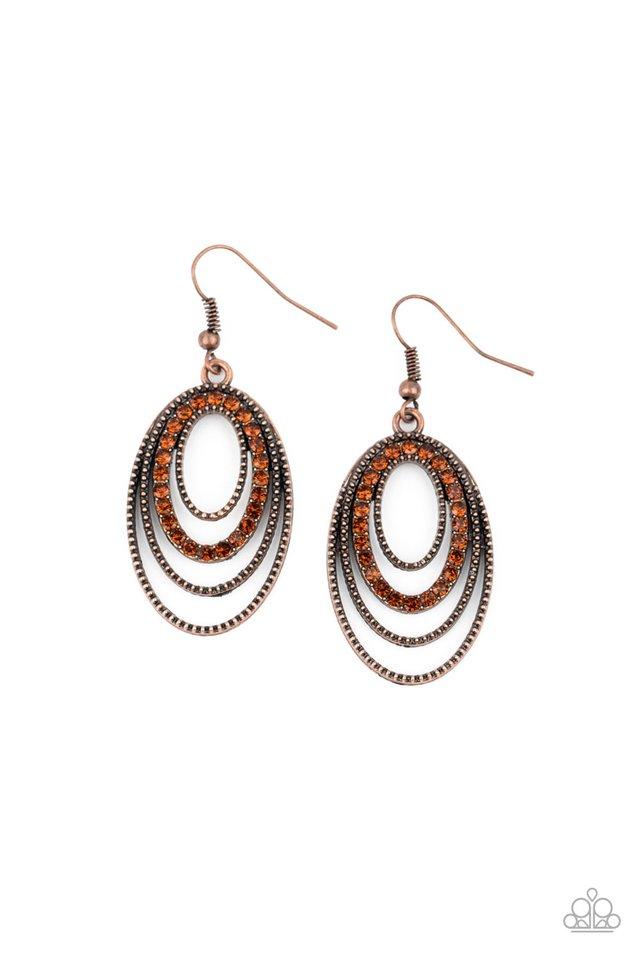 Date Night Diva - Copper - Paparazzi Earring Image