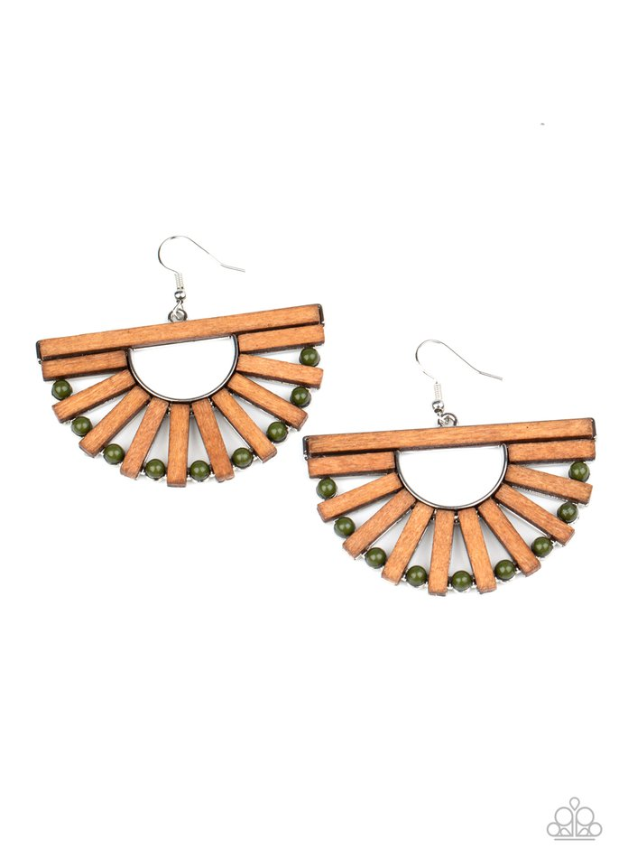 Wooden Wonderland - Green - Paparazzi Earring Image