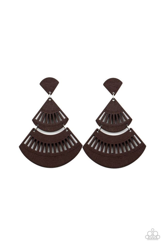 Oriental Oasis - Brown - Paparazzi Earring Image