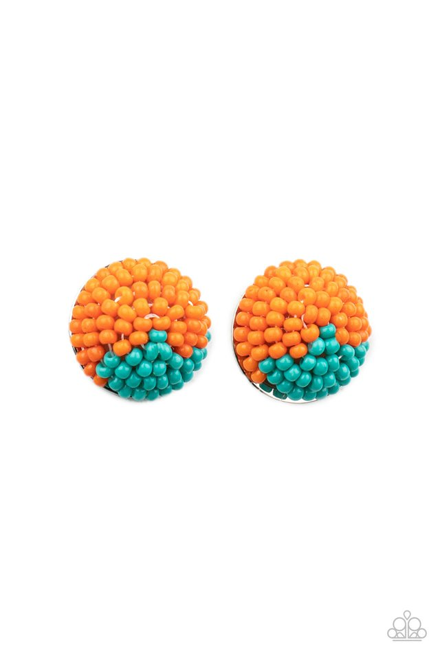 As Happy As Can BEAD - Orange - Paparazzi Earring Image