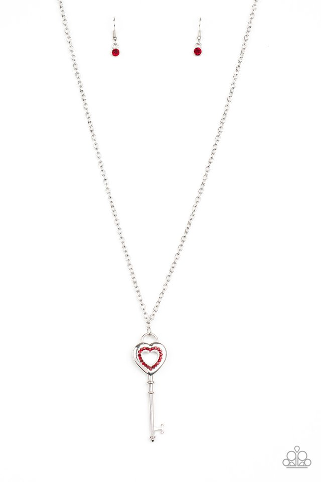 Unlock Your Heart - Red - Paparazzi Necklace Image