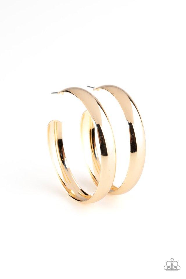 Kick Em To The CURVE - Gold - Paparazzi Earring Image
