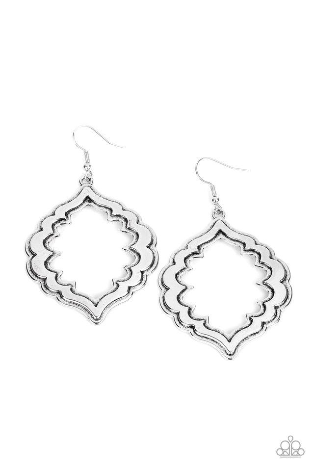 Taj Mahal Majesty - Silver - Paparazzi Earring Image