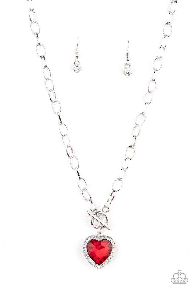 Check Your Heart Rate - Red - Paparazzi Necklace Image