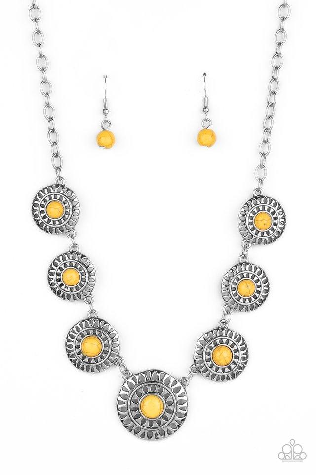 Sahara Solar Power - Yellow - Paparazzi Necklace Image