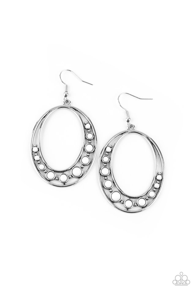 Crescent Cove - White - Paparazzi Earring Image