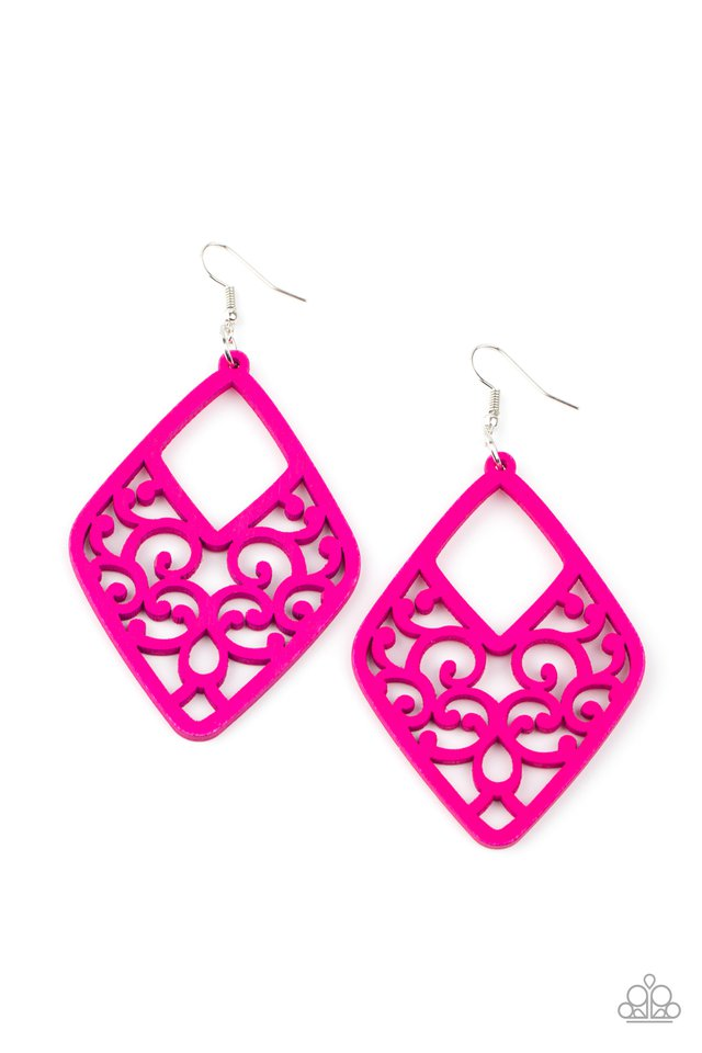 VINE For The Taking - Pink - Paparazzi Earring Image