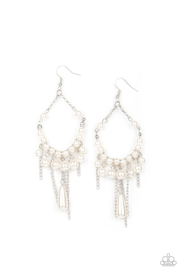 Party Planner Posh - White - Paparazzi Earring Image