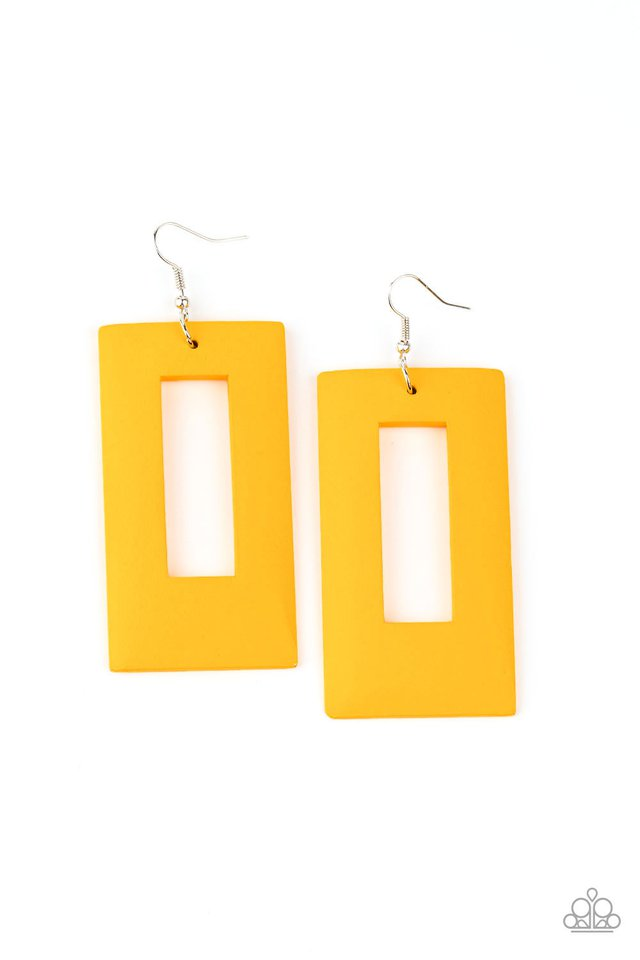Totally Framed - Yellow - Paparazzi Earring Image