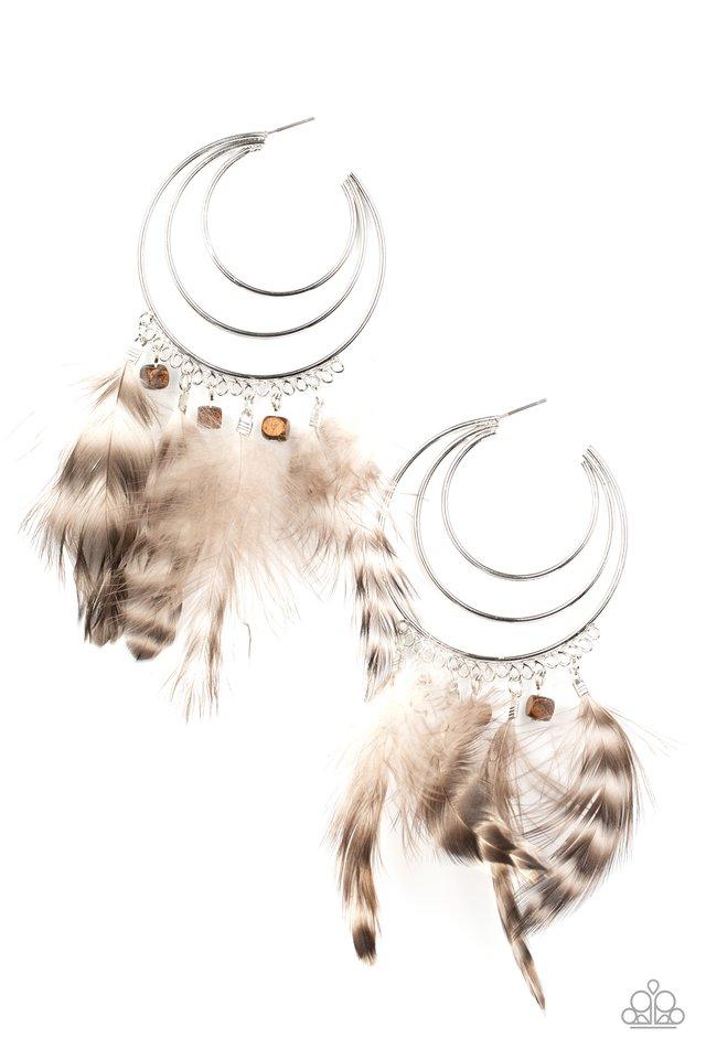 Freely Free Bird - Brown - Paparazzi Earring Image