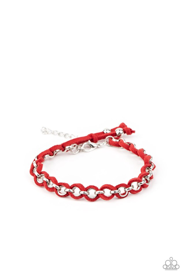 SUEDE Side to Side - Red - Paparazzi Bracelet Image