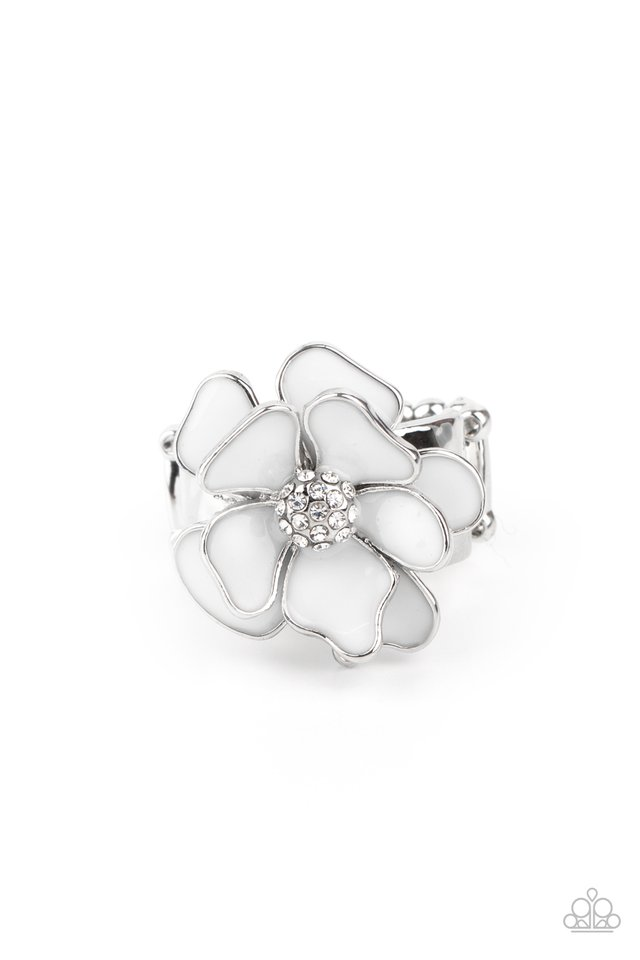 Hibiscus Holiday - White - Paparazzi Ring Image