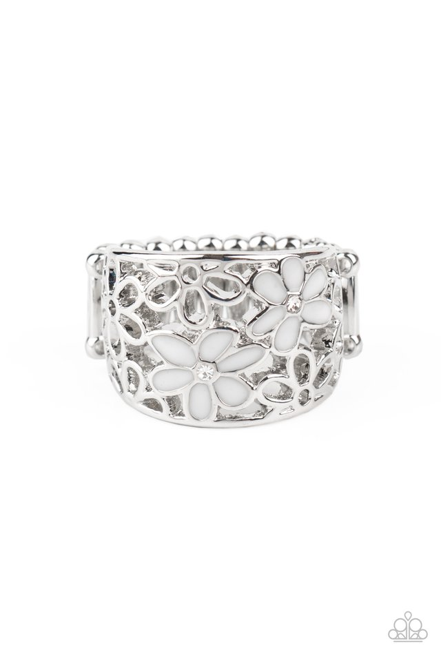 Clear as DAISY - White - Paparazzi Ring Image