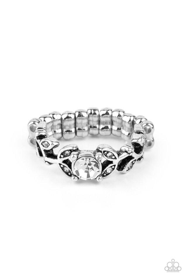 Frosted Flower Beds - White - Paparazzi Ring Image