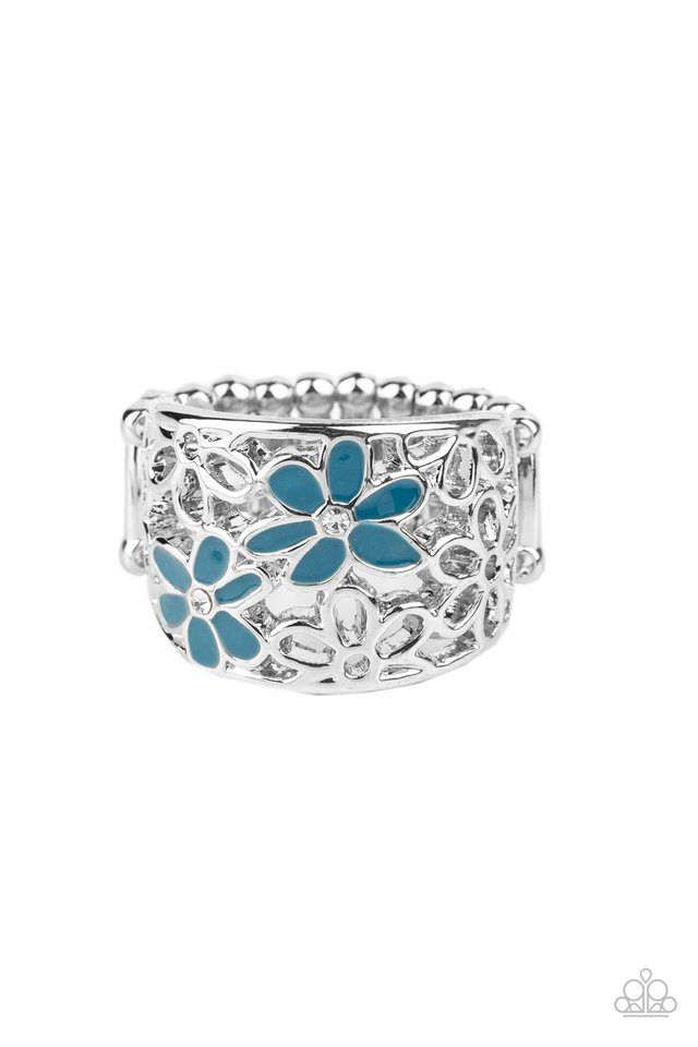 Clear as DAISY - Blue - Paparazzi Ring Image