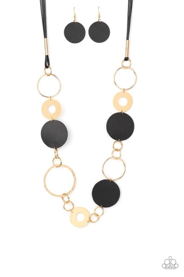 Sooner or LEATHER - Black - Paparazzi Necklace Image
