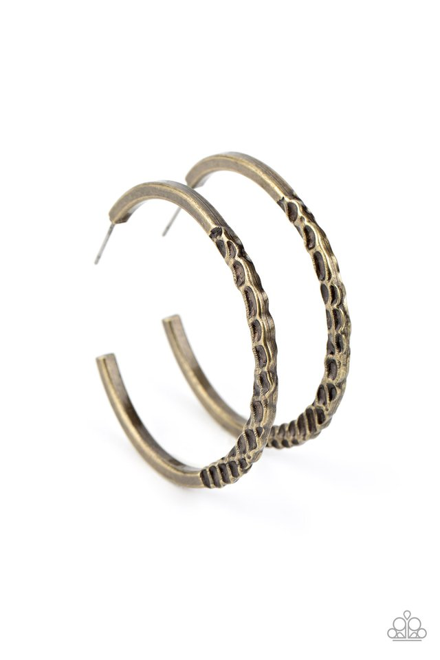 Imprinted Intensity - Brass - Paparazzi Earring Image