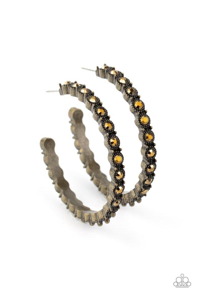 Rhinestone Studded Sass - Brass - Paparazzi Earring Image