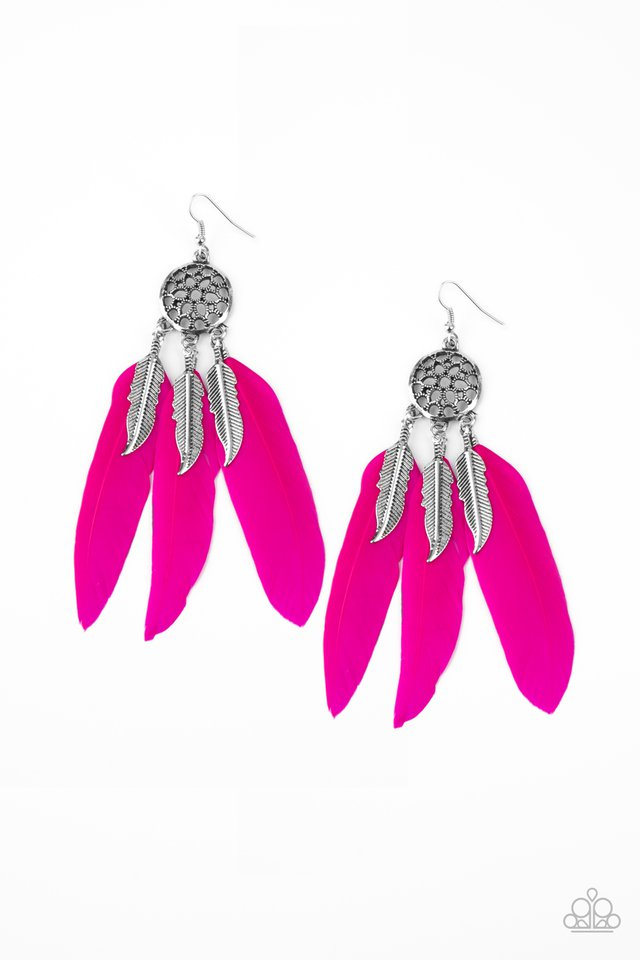 In Your Wildest DREAM-CATCHERS - Pink - Paparazzi Earring Image