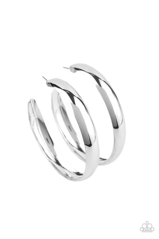 BEVEL In It - Silver - Paparazzi Earring Image