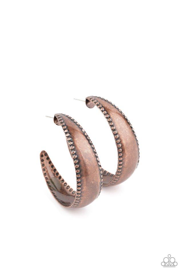 Burnished Benevolence - Copper - Paparazzi Earring Image